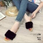 รองเท้าแตะแฟชั่น แบบสวม แต่งขนเฟอร์ฟูนิ่มสวยเก๋น่ารัก งานสวย ใส่สบาย แมทสวยได้ทุกชุด (8806)