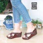 รองเท้าแฟชั่น ส้นเตารีด แบบสวม หน้าไขว้ แต่งลายตารางสไตล์ LV สวยเก๋ ใส่สบาย แมทสวยได้ทุกชุด (2064)