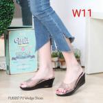 รองเท้าแฟชั่น ส้นเตารีด แบบสวม คาดหน้าพลาสติกใสนิ่ม พื้นลายดอกไม้สวยหวาน ทรงสวย ใส่สบาย แมทสวยได้ทุกชุด (ฺPU6087)
