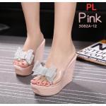 รองเท้าแฟชั่น ส้นเตารีด แบบสวม คาดหน้าพลาสติกใสนิ่มแต่งโบว์เพชรคลิสตัลสวยหรูน่ารัก ส้นสูงประมาณ 5 นิ้ว เสริมหน้า ใส่สบาย แมทสวยได้ทุกชุด (3082A-12)