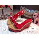 รองเท้าแฟชั่น ส้นเตารีด แบบสวม คาดหน้าพลาสติกใสนิ่มแต่งโบว์สวยน่ารัก ส้นสูง 3.5 นิ้ว เสริมส้นหน้า 1 นิ้ว หนังนิ่ม ทรงสวย ใส่สบาย แมทสวยได้ทุกชุด (8293)