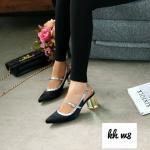 รองเท้าคัทชู ส้นสูง รัดส้น แต่งหนังตัดขอบ ส้นสวยหรู ส้นเหลี่ยมสวยเก๋ หนังนิ่ม ส้นสูงประมาณ 3 นิ้ว ใส่สบาย แมทสวยได้ทุกชุด