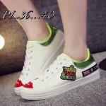 รองเท้าผ้าใบแฟชั่น แต่งลายสวยเท่ห์สไตลเกาหลี วัสดุอย่างดี ทรงสวย ใส่สบาย ใส่เที่ยว ออกกำลังกาย แมทสวยเท่ห์ได้ทุกชุด