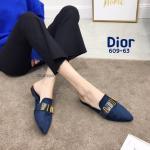 รองเท้าคัทชู เปิดส้น หนังสักหราดแต่งอะไหล่สไตล์ดิออร์สวยหรู ทรงสวย ใส่สบาย แมทสวยได้ทุกชุด (609-63)