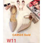 รองเท้าคัทชู รัดส้น ส้นสูง หนังกลิสเตอร์แต่งลายปักสวยหวาน ทรงสวย ส้นสูงประมาณ 2.5 นิ้ว ใส่สบาย แมทสวยได้ทุกชุด (CA9503)