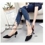 รองเท้าคัทชู ส้นเตี้ย หนังสักหราดนิ่ม แต่งสายเดี่ยวยางยืดประดับไข่มุกสวยเก๋ ส้นสูง 2.5 นิ้ว ทรงสวย ใส่สบาย แมทสวยได้ทุกชุด (3018)