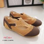 รองเท้าคัทชู ส้นแบน สไตล์เพื่อสุขภาพหนังนิ่มฉลุลาย ดีไซน์ตัดสีสวยชิค น้ำหนักเบา ใส่สบายมาก แมทสวยได้ทุกชุด (1A6070)
