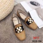 รองเท้าคัทชู ส้นแบน หนังสักหราดแต่งอะไหล่ผึ้งมุกสวยหรูน่ารัก ทรงสวย ใส่สบาย แมทสวยได้ทุกชุด (2015-158)