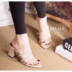รองเท้าแฟชั่น ส้นสูง แบบสวม คาดหน้าดีไซน์หนังเส้นเก็บหน้าเท้า ทรงสวย ใส่สบาย ส้นสูงประมาณ 2.5 นิ้ว แมทสวยได้ทุกชุด