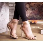 รองเท้าแฟชั่น ส้นสูง รัดข้อ แต่งพลาสติกใสนิ่มขอบหนังสวยเก๋ ส้นใสอินเทรนด์ ทรงสวย ซิปหลัง ใส่สบาย ส้นสูงประมาณ 4 นิ้ว แมทสวยได้ทุกชุด