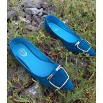 รองเท้าคัทชู ส้นแบน หนังสักหราดแต่งอะไหล่สวยเก๋มีสไตล์ หนังนิ่ม ใส่สบาย แมทสวยได้ทุกชุด