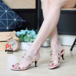 รองเท้าแฟชั่น ส้นสูง รัดส้น แต่งหนังทูโทนอะไหล่เข็มขัด 2 เส้น สวยเก๋ ทรงสวย หนังนิ่ม ส้นสูงประมาณ 2.5 นิ้ว ใส่สบาย แมทสวยได้ทุกชุด (MX4041)