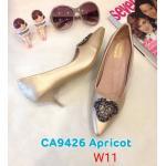 รองเท้าคัทชู ส้นเตี้ย แต่งอะไหล่สวยหรู หนังนิ่ม ทรงสวย ส้นสูงประมาณ 2 นิ้ว ใส่สบาย แมทสวยได้ทุกชุด (K9426)