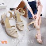 รองเท้าแฟชั่น แบบสวม รัดส้น ทรงสวย เก็บเท้า ส้นตัดสูงประมาณ 3 นิ้ว เสริมหน้า ใส่สบาย แมทสวยได้ทุกชุด (8806-10)