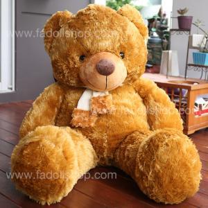 ตุ๊กตาหมีผูกผ้าพันคอสีน้ำตาล 1.1 เมตร