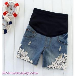 กางเกงคลุมท้องยีนส์ขาสั้นสีน้ำเงิน แต่งขอบลูกไม้