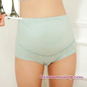 กางเกงในคนท้องพยุงครรค์ สีเขียวลายจุดขาว