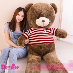 ตุ๊กตาหมีใส่เสื้อลายทางแดง 1.8 เมตร