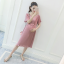 ชุดคลุมท้องสวยๆ ผ้าชีฟองสีชมพู อัดพลีทเล็กช่วงแขนและกระโปรง แต่งที่อกเป็นรูปตัววี thumbnail 4