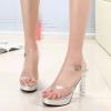 รองเท้าแฟชั่น แบบสวม รัดข้อ คาดหน้าพลาสติกใสนิ่ม แต่งส้นเคลือบเงาดีไซน์สวยหรู สูงประมาณ 5 นิ้ว เสริมหน้า สไตล์ชาแนล ใส่สบาย แมทสวยได้ทุกชุด
