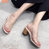 รองเท้าแฟชั่น แบบสวม คาดหน้าพลาสติกใสนิ่มสวยเก๋ อินเทรนด์ ส้นลายไม้ สูงประมาณ 2.5 นิ้ว ใส่สบาย แมทสวยได้ทุกชุด (1332-24)