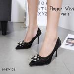 รองเท้าคััทชู ส้นสูง ลายลูกไม้แต่งเพชรด้านหน้าสไตล์ D&G สวยหรู ทรงสวยเพรียว ส้นสูงประมาณ 4.5 นิ้ว แมทสวยโดดเด่นได้ทุกชุด (9467-102)