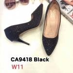 รองเท้าคัทชู ส้นสูง แต่งคลิสตัลรอบตััวสวยหรู ทรงสวย หนังนิ่ม ส้นสูงประมาณ 3.5 นิ้ว ใส่สบาย แมทสวยได้ทุกชุด (CA9418)