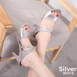 รองเท้าแฟชั่น ส้นสูง แบบสวม หนังเงาเลื่อมแต่งเพชรคลิสตัลสวยหรู หนังนิ่ม ทรงสวย ส้นสูงประมาณ 3 นิ้ว ใส่สบาย แมทสวยได้ทุกชุด (B231-6)