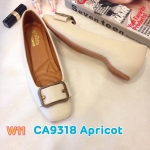 รองเท้าคัทชู ส้นเตี้ย แต่งอะไหล่ด้านหน้าสวยเก๋ ทรงหัวตัด หนังนิ่ม พื้นนิ่ม ใส่สบาย แมทสวยได้ทุกชุด (CA9318)