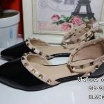 รองเท้าคัทชู ส้นแบน รัดส้น หนังเงาแต่งหมุดสวยเก๋สไตล์วาเลนติโน รัดส้นเท้าปรับขนาดได้ ทรงสวย หนังนิ่ม ใส่สบาย สีดำ ชมพู ครีม แมทสวยได้ทุกชุด (919-90)