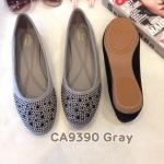 รองเท้าคัทชู ส้นแบน แต่งคลิสตัลสวยหรู หนังนิ่ม ทรงสวย ใส่สบาย แมทสวยได้ทุกชุด (CA9390)