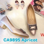 รองเท้าคัทชู ส้นเตี้บ แต่งอะไหล่หรู ส้นแต่งขอบเงาสวยดูดีทรงสวย หนังนิ่ม ส้นสูงประมาณ 1.5 นิ้ว ใส่สบาย แมทสวยได้ทุกชุด (CA9895)