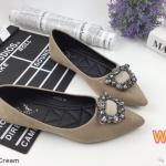 รองเท้าคัทชู ส้นแบน ทรงหัวแหลม หนังสักหราดแต่งอะไหล่เพชรสวยหรู หนังนิ่ม ใส่สบาย ทรงสวย แมทสวยได้ทุกชุด (K5052)