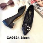 รองเท้าคัทชู ส้นเตี้ย แต่งอะไหล่สวยหรู ทรงสวย หนังนิ่ม ส้นสูงประมาณ 2 นิ้ว ใส่สบาย แมทสวยได้ทุกชุด (CA9624)