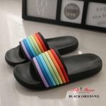รองเท้าแตะแฟชั่น แบบสวม แต่งลายสไตล์แบรนด์สวยเก๋ สีหวานน่ารัก ยางพื้นนิ่ม ทนมาก ลุยน้ำและลุยฝนได้ น้ำหนักเบา ใส่สบาย แมทสวยได้ทุกชุด (SB1153-N2)