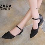 รองเท้าคัทชู ส้นเตารีด รัดส้น แต่งคลิสตัลสวยหรู ทรงสวย หนังนิ่ม ใส่สบาย ส้นสูงประมาณ 2.5 นิ้ว แมทสวยได้ทุกชุด (A638-11)