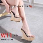 รองเท้าแฟชั่น แบบสวม ส้นเตารีด คาดหน้าพลาสติกใสนิ่มสวยอินเทรนด์ แต่งส้นเว้าเก๋ๆ ลายไม้ ทรงสวยหนังนิ่ม ใส่สบาย สูงประมาณ 5 นิ้ว เสริมหน้า แมทสวยได้ทุกชุด (17-2298)