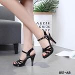 รองเท้าแฟชั่น ส้นสูง รัดส้น แบบสวม แต่งหนังสานไขว้ด้านหน้าสวยเก๋ ส้นสูงประมาณ 4 นิ้ว เสริมหน้า แมทสวยได้ทุกชุด (851-A8)