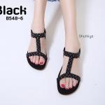 รองเท้าแตะแฟชั่น แบบสวม รัดส้น แต่งคลิสตัลสวยหรู พื้นนิ่ม รัดส้นยางยืดนิ่ม ใส่สบาย แมทสวยได้ทุกชุด (B548-6)
