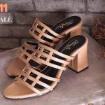 รองเท้าแฟชั่น ส้นสูง แบบสวม ดีไซน์หนังเส้นตารางสวยเก๋ เก็บหน้าเท้า ส้นสูงประมาณ 2.5 นิ้ว ใส่สบาย แมทสวยได้ทุกชุด