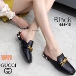 รองเท้าคัทชู เปิดส้น แต่งอะไหล่โซ่ลายดาว ส้นแต่งมุกสวยหรู ทรงสวย ใส่สบาย แมทสวยได้ทุกชุด (988-13)