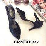 รองเท้าคัทชู ส้นสูง รัดข้อ แต่งฉลุลายสวยหวาน ทรงสวย ส้นสูงประมาณ 3 นิ้ว ใส่สบาย แมทสวยได้ทุกชุด (CA9500)