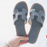 รองเท้าแตะแฟชั่น แบบสวม หน้า H หนังพิมพ์ลาย สไตล์แอร์เมสสวยเก๋ อินเทรนด์ ทรงสวย ใส่สบาย แมทสวยได้ทุกชุด (GS19)