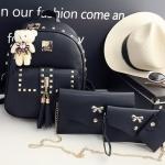 Fashion Korea PU set 4 ใบ (สีดำ)