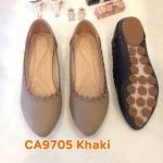 รองเท้าคัทชู ส้นแบน แต่งขอบปักลายสวยเก๋ หนังนิ่ม ใส่สบาย แมทสวยได้ทุกชุด (CA9805)
