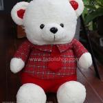 ตุ๊กตาหมีใส่เสื้อลายสก๊อตแดง 75 เซนติเมตร