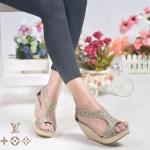 รองเท้าแฟชั่น ส้นเตารีด แบบสวม เว้าข้าง แต่งลายโมโนแกรมสไตล์ LV สวยเก๋ ทรงสวย ซิปหลัง ใส่สบาย แมทสวยได้ทุกชุด