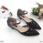 รองเท้าคัทชู รัดส้น ส้นเตี้ย ฉลุลายดอกไม้สวยหวาน ทรงสวย ส้นเหลี่ยมเก๋ๆ ใส่สบาย แมทสวยได้ทุกชุด (K9209)