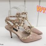 รองเท้าคัทชู ส้นสูง รัดข้อ 2 เส้น หนังเงาแต่งหมุดสวยหรูสไตล์วาเลนติโน ใส่สบาย ทรงสวย สูงประมาณ 3 นิ้ว แมทสวยได้ทุกชุด (K9014)