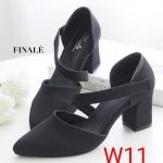 รองเท้าคัทชู ส้นสูง แต่งสายคาดเฉียงด้านหน้าสวยเก๋ ทรงสวย หนังนิ่ม ใส่สบาย ส้นตัดสูงประมาณ 3 นิ้ว แมทสวยได้ทุกชุด